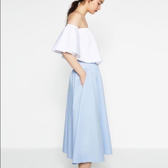 816f2768c3 Zara Skirts   Nwt Light Blue Cotton Midi Skirt   Poshmark